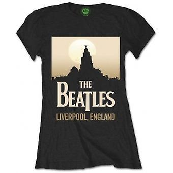 The Beatles Liverpool England Damen Blk T-Shirt: Klein
