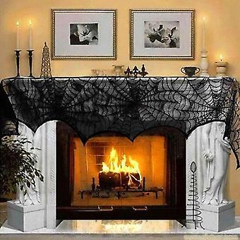 هالوين الديكور الدانتيل العنكبوت ويب هيكل عظمي الجمجمة مفرش المائدة الأسود