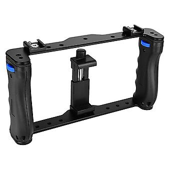 Dual handle grips smartphone stabilizer handheld portable metal phone camera cage stabilizer rig