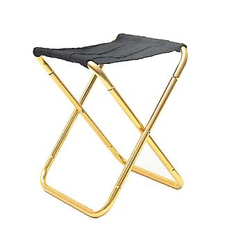 Portable Folding Chair Outdoor Aluminum Alloy Fishing Camping Picnic Travel Beach Stool(Gold)