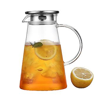 2l Glass Jug With Lid,water Pitcher Glass Carafe,borosilicate Glass Water Jar And Stainless Steel Lid,water Carafe,juice