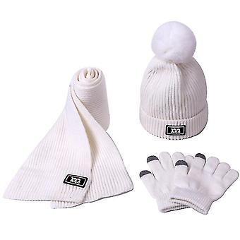 Eșarfă tricotată, Pompom Beanie Pălărie și mănuși Set (alb)