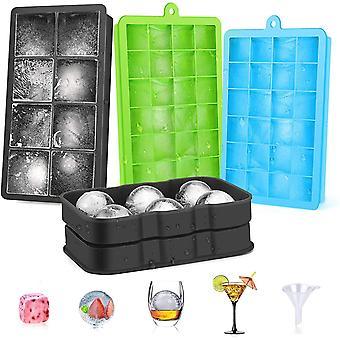 Eiswürfelform Silikon Ice Cube Tray, 4 Stück Eiswürfelbehälter mit Deckel, 3 Quadratische