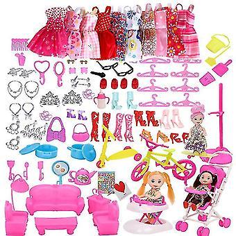 Dukke tilbehør, kjole tøj til Barbie Doll (118pcs)