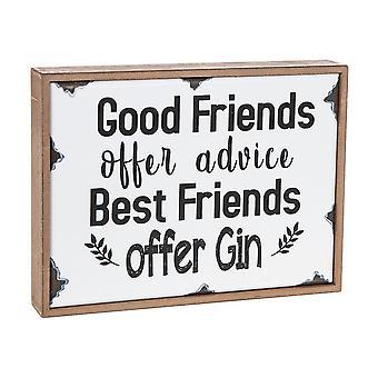 Wooden Hanging Plaque - Best Friends Offer Gin