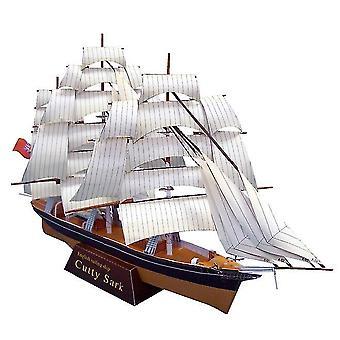 Segelskepp Cutty Sark Ship Ship Båtpapper Modell Montera Hand Arbete Pussel Spel DIY Barn Leksak