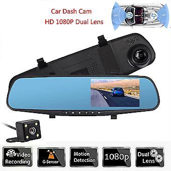 4.3 HD עדשה כפולה מכונית DVR מקף מצלמת מצלמה קדמית ואחורית מראה מצלמת וידאו מקליט
