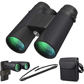 高出力双眼鏡、12x42 バク4プリズム、FMCレンズ、バードウォッチング旅行スターゲイジング狩猟コンサート(スマートフォンアダプタ付属)のための防水グレートを持つ大人のための双眼鏡(黒)