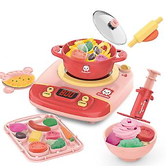 Simulation Induction Cooker Children Play Kitchen Kitchenware Set Lighting And Music