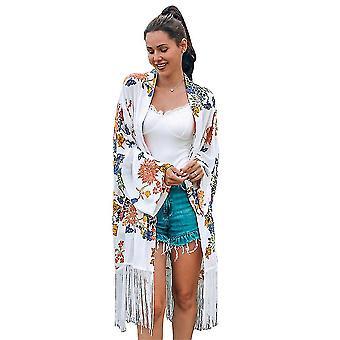 Loose Chiffon Beachwear Cardigan Long Tassel Boho Printed Bikini Cover Up