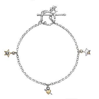 Silver och guld multi charm armband
