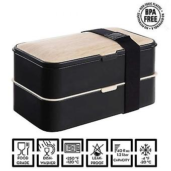 Bento Lunch Box Black  Microwaves And Dishwashers  Premium Adult Or Child Wood Lunch Box