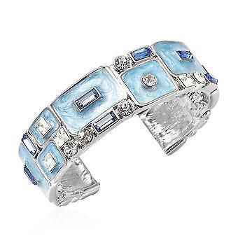 TJC mandzsetta karperec női kék üveg és kristály ajándék feleségnek / anyának 1.1ct