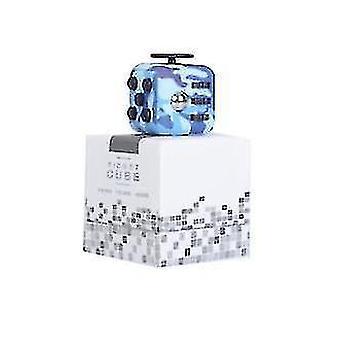 Kuusipuolinen dekompressio Rubikin kuutio lievittää stressisormi urheiluleluu (sininen)