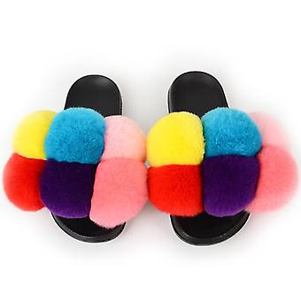 Mimigo Women's Cross Band Slippers Soft Pelry Open Toe Fur Slides Fuzzy Fluffy Slip On House Shoes Indoor Outdoor Slippers For Women