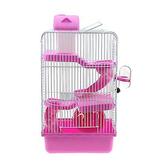 1pc Hamster Cage With Three Layer Pink