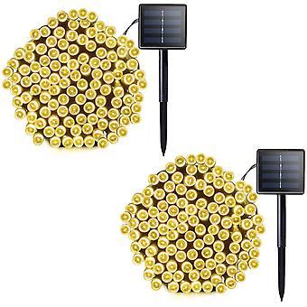 2 Pack Solar String Lights 72ft 22m 200 Led 8 Modes Solar Powered Outdoor Lighting Waterproof