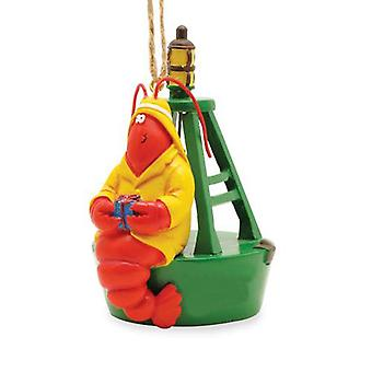 Red Lobster Fisherman on Bell Buoy With Gift Nautical Christmas Holiday Ornament