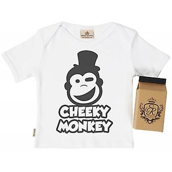 Spoilt Rotten Cheeky Monkey Babys T-Shirt 100% Organic In Milk Carton