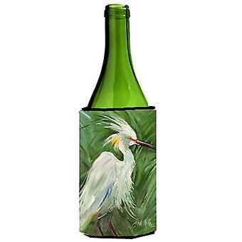 Garza blanca en verde hierbas vino botella bebida aislador Hugger