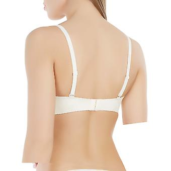 Marc and Andre A4-0242 Women's Seamless Ivory Floral Padded Underwired Balconette Balcony Bra