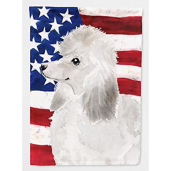 Carolines skatter BB9386GF hvit målestokk Poodle patriotiske flagg hage størrelse