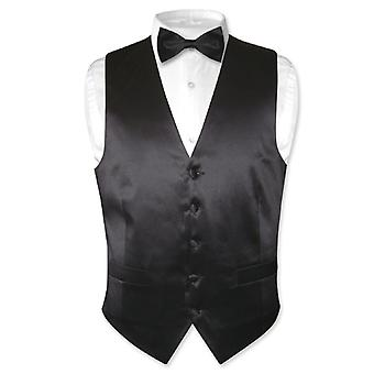 Biagio mäns sidenklänning Vest & rosett knyt fast BowTie sätta för kostym eller smoking