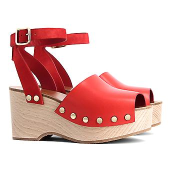 C�line sandals with wood platform in Bright Red Calf leather