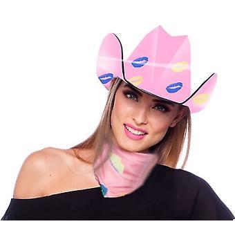 Szalik różowe usta całować usta Cowgirl kostium akcesoria Western