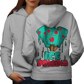 Domino las mujeres GreyHoodie respaldo de hielo | Wellcoda