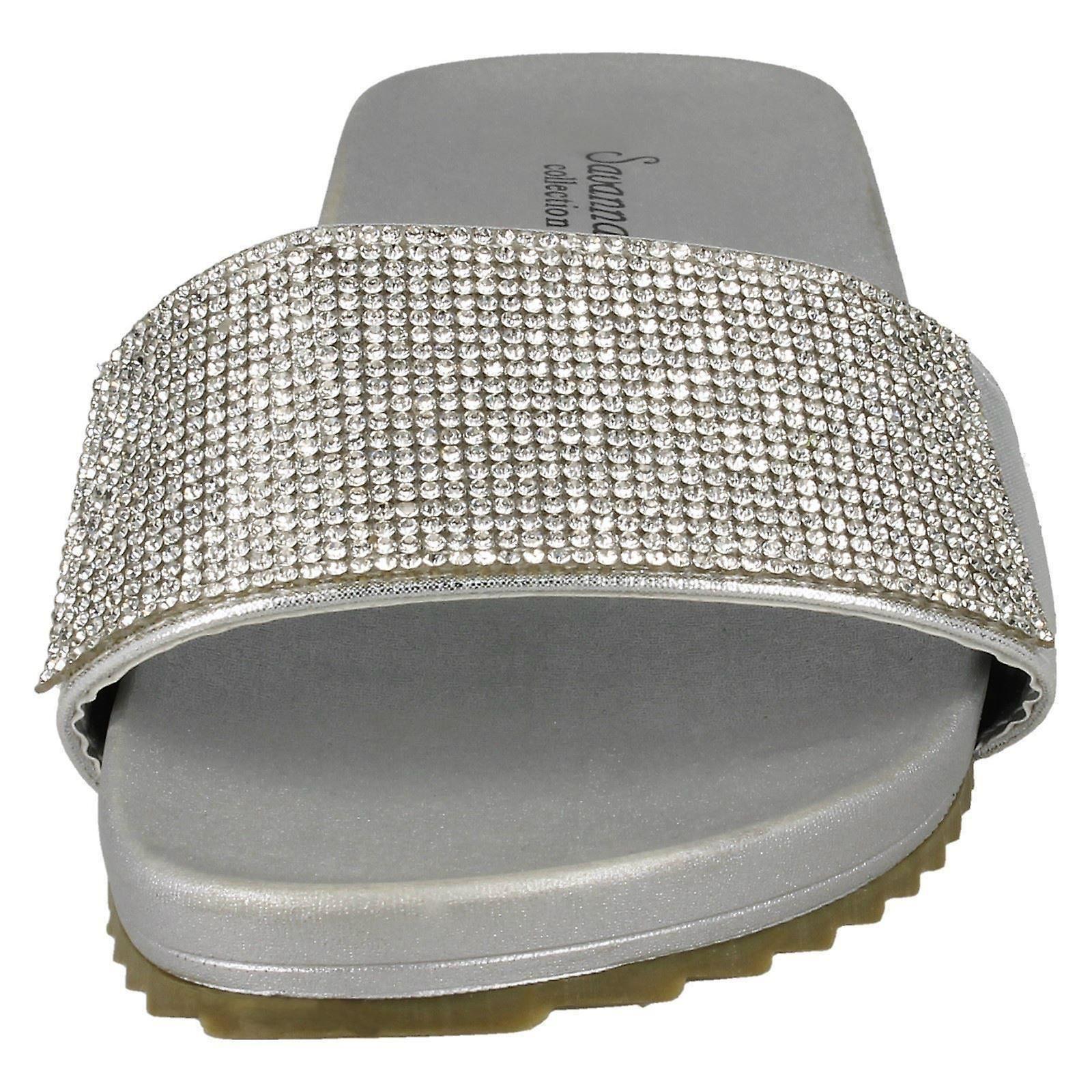 Ladies Silver//Black//Rose Gold Diamante Savannah Mules F00075