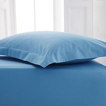 Percale Polycotton Flat Sheet Double Blue
