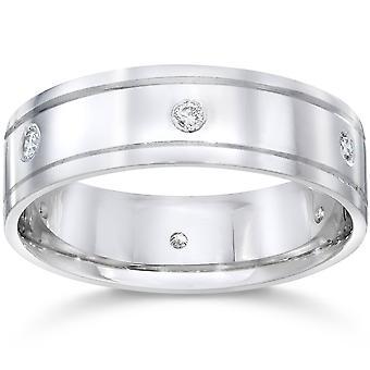 Mens 14K White Gold Polished Diamond Wedding Band Ring