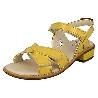 Girls Clarks Strappy Sandals Darcy Charm - Yellow Patent - UK Size 10F - EU Size 28 - US Size 10.5M