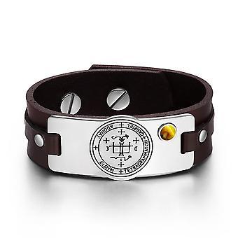 Archange Gabriel Sigil pouvoirs magiques amulette oeil de précieuses Bracelet réglable en cuir marron