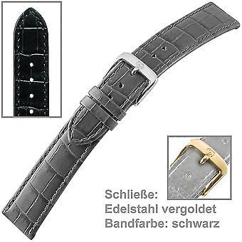 black watch bracelet strap for u-strap of ladies mens watch 16 mm