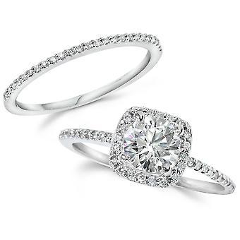 1CT Diamond Engagement Ring Cushion Halo Wedding Ring Set 14K White Gold