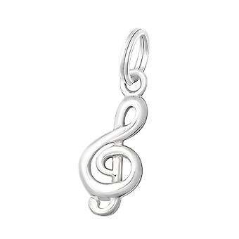 Treble Clef - 925 Sterling Silver Charms con Split ring - W19187X