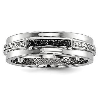 925 Sterling Silver Polished Prong set White and Black Diamond Mens Ring Jewelry Gifts for Men - Ring Size: 9 to 11
