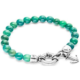 Anchor and Crew Port Silver and Agate Stone Bracelet - Green/Silver