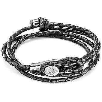 Âncora e tripulação Dundee prata e pulseira de couro - preto de carvão