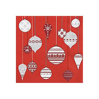 Stow Green Pack of 20 Napkins, Patterned Ornaments Red