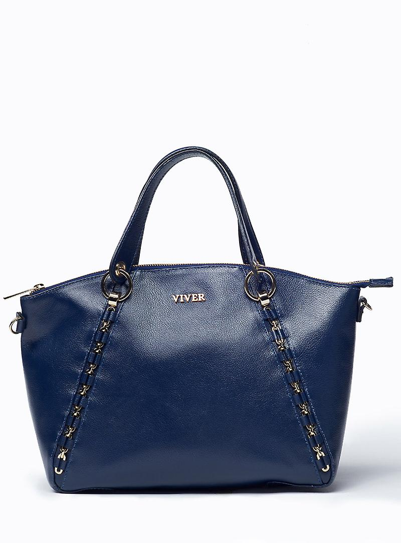VIVER Leather Handbag Etude Navy