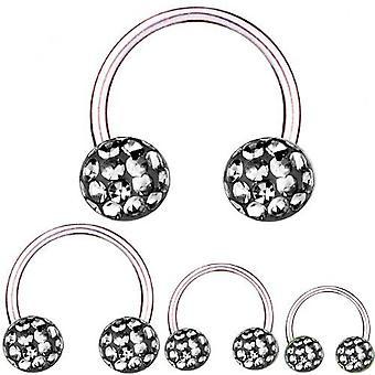 Cirkulär Barbell hästsko Titanium 1,6, Multi Crystal Ball svart diamant | 8-16