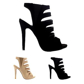 Womens Lazer Cut Open Toe Gladiator Cut Out High Heels Caged Stilettos UK 3-10