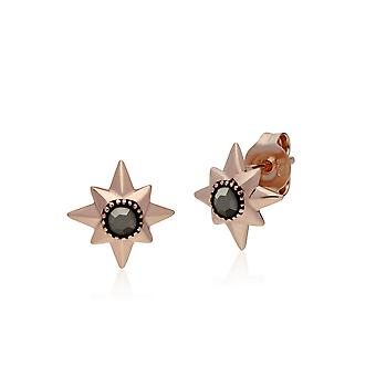 Rose Gold Plated Round Marcasite Double Star Stud Earrings in 925 Sterling Silver 224E022201925