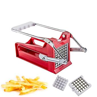 Potato Cutter for French Fries - Potato Vegetable Slicer Chopper Dicer 2 Blades - For Thin or Larger Chips