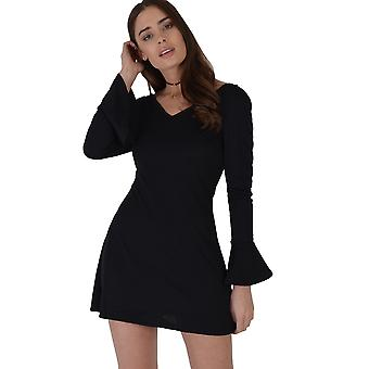 Lovemystyle Bell Long Sleeved Black Skater Dress With Plunge Neck