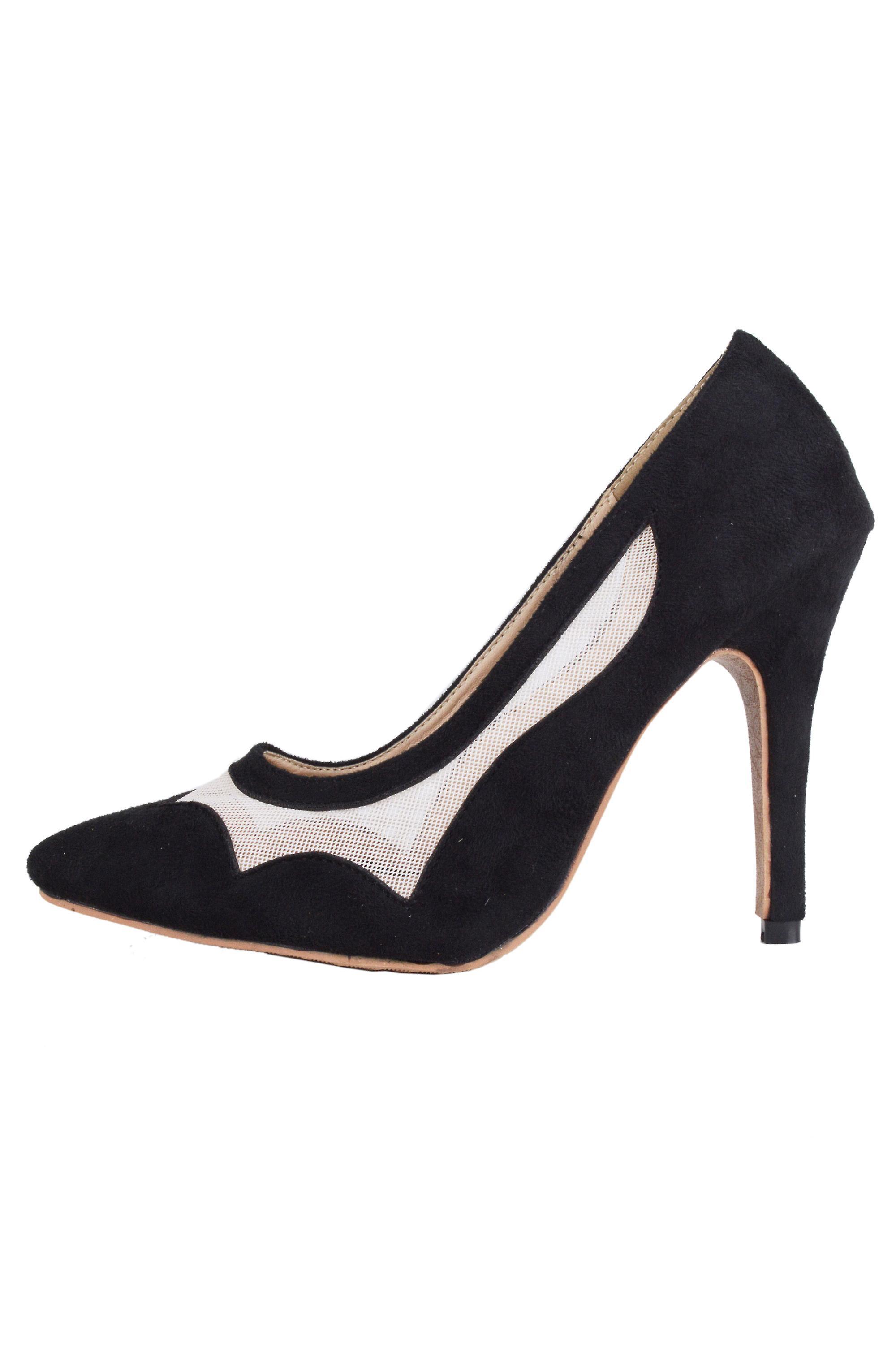 Lovemystyle Black High Heels With White Mesh Insert