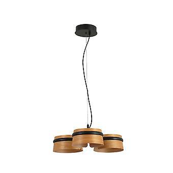Faro - boucle noir et trois bois cerisiers clair Dimmable LED pendentif FARO29567